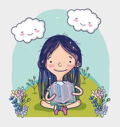 Cute girl reading a book cartoon vector