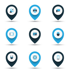 device icons colored set with satellite computer vector image