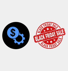 dollar setup gear icon and distress black vector image