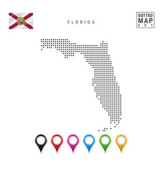 Dots pattern map florida stylized silhouette vector