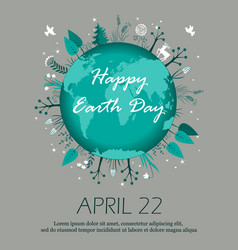 earth day planet eco symbol 22 april card vector image