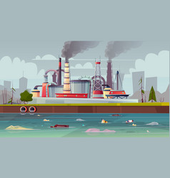 Ecology concept water pollution factory vector
