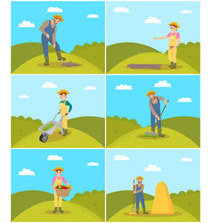 Farmer agricultural activities vector