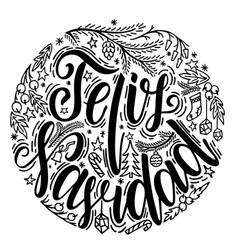 Feliz navidad hand lettering greeting card feliz vector