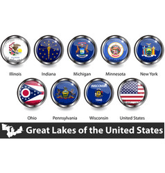 flags great lakes region us vector image