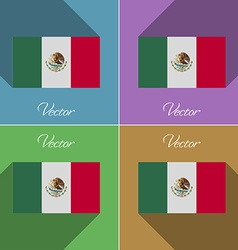 Flags Mexico Set of colors flat design and long vector image
