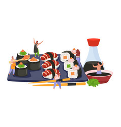 Flat sushi composition vector