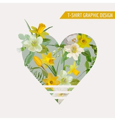 Flower Heart Graphic Design - for t-shirt fashion vector image