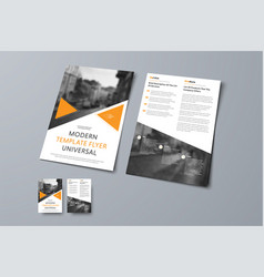flyer design with triangular orange elements and vector image