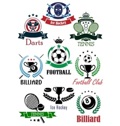 Football billiards darts hockey tennis logo vector