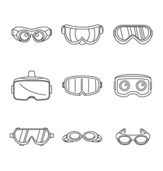Goggles ski glass mask icons set simple style vector