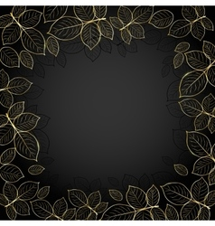 Gold frame with leaves vector image