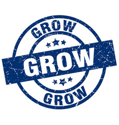 Grow blue round grunge stamp vector