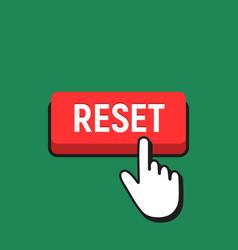 Hand mouse cursor clicks the reset button vector
