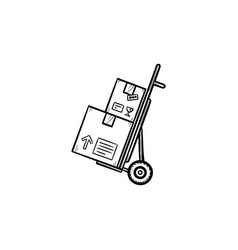 Handcart with cardboard boxes hand drawn outline vector