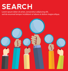 Hands holding magnifying glass searching concept vector
