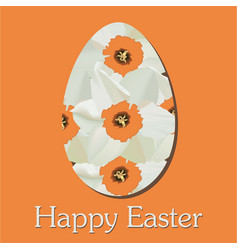 Happy easter card with narcissus vector