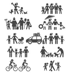 Happy family life pictograms vector
