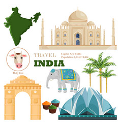 india main attractions and symbols set vector image