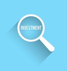 investment word magnifying glass vector image