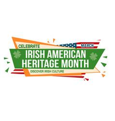 irish american heritage month banner design vector image