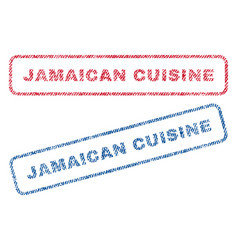 Jamaican cuisine textile stamps vector