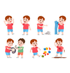 kids bad behavior bully making mess scream vector image