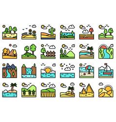 landscape filled icon set 4 vector image