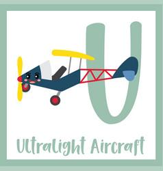 Letter u vocabulary ultralight aircraft vector
