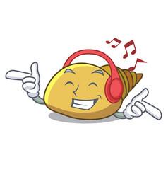 Listening music mollusk shell mascot cartoon vector