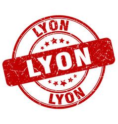 Lyon red grunge round vintage rubber stamp vector