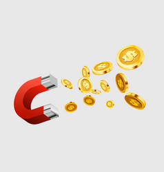 magnet attracts money the concept investing vector image