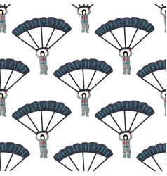 man jumping with parachute seamless pattern vector image