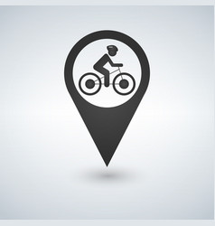 man on bike map pin pointer concept biking vector image