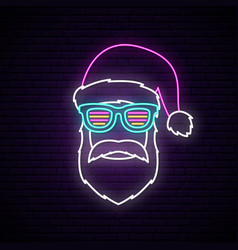 neon signboard with santa claus portrait vector image