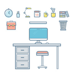 Office workspace objects in linear style for vector
