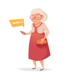 old woman with glasses with phone vector image