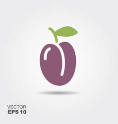 one ripe fresh plum with leaf vector image