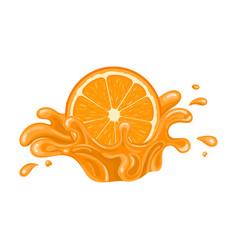 Orange juice splash isolated on white background vector