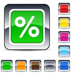 Percent square button vector image