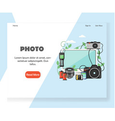photography website landing page design vector image