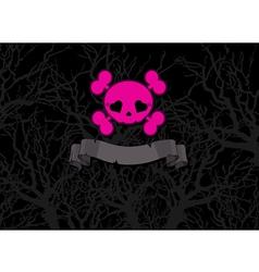 Pink crossbones vector