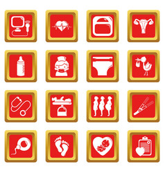 Pregnancy icons set red square vector