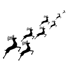 Reindeer running on a white background vector