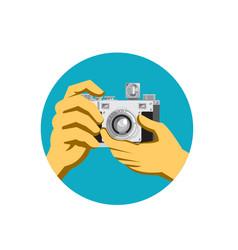 Retro 35mm film camera clicking vector