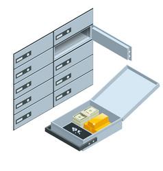 Safe deposit boxes open deposit box vector
