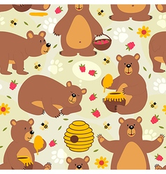 Seamless pattern brown bear vector