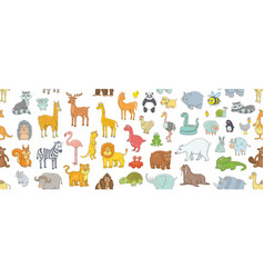 seamless pattern with different animals vector image