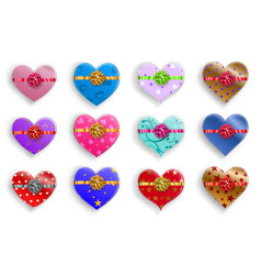 set heart shaped gift boxes with bows vector image