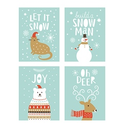 Set of christms cards vector